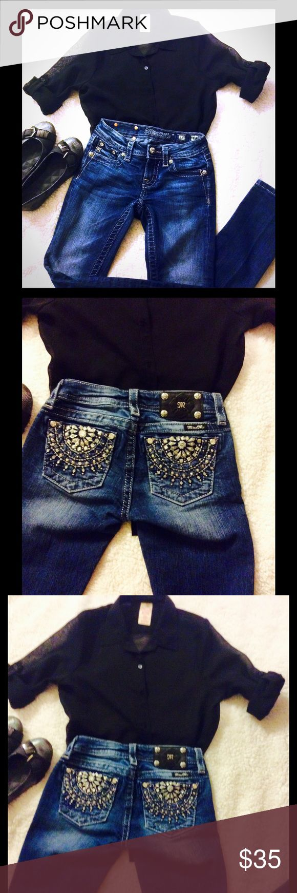 🔆 Girls Miss Me Jeans/Skinny Bling, Bling!✨ ❤️Miss Me Girls Skinny Jeans. Dark Wash. EUC, as are most of my daughter's clothes. She wanted a pair for Christmas, but thinks they don't fit her right!? They are size 10. A blend of cotton, polyester, and elastane. Surprise your girl for Valentines Day? ❤️ Miss Me Bottoms Jeans