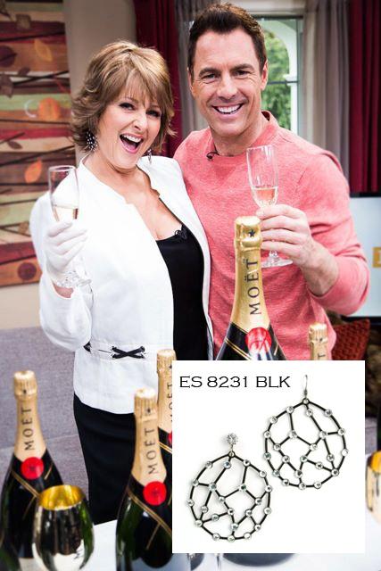 Cristina Ferrare wearing AKD earrings ES 8231 BLK. Available at annekoplik.com. $50. #earrings #akd #celebrity #tv #homeandfamily #homeandfamilytv