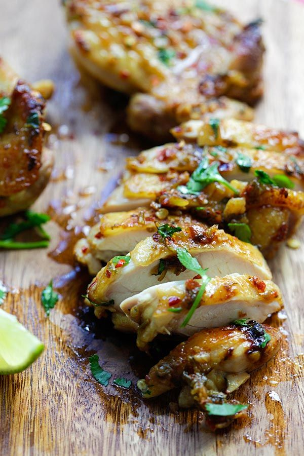 Cilantro Lime Chicken - juicy Mexican-inspired chicken marinated with cilantro, lime & garlic. Pan-fry, bake or grill with this recipe.