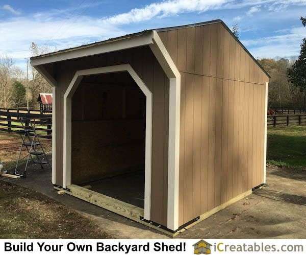10x10 Run In Shed Plans by iCreatables.com