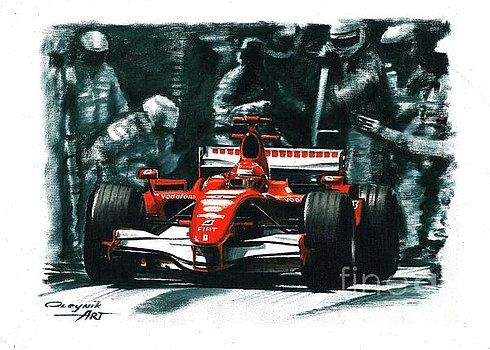 2006, Ferrari 248 F1,  Michael Schumacher,  Felipe Massa,  Ferrari F1 collection ART by Artem Oleynik. This collection demonstrating Ferrari F1 racing cars since 1950 to 2016 and includes 96 pictures in oil on canvas. The size of each original picture is 25 x 35 cm.
