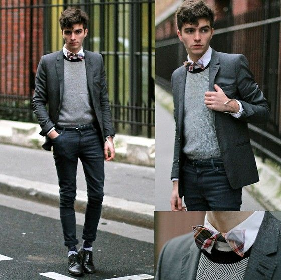 Gray Blazer, Givenchy Geometric Sweater, Asos Blue Gray Jeans, Selected  Homme Plaid Bow