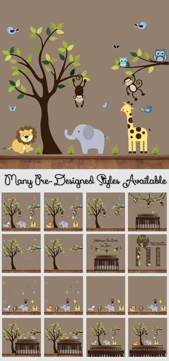 Jungle Wall Decal  Nursery Tree Decals  Jungle Decor  by HWDecals, $90.00
