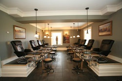 Our pedicure room can accomodate 10 clients at one time and is perfect for any group party!