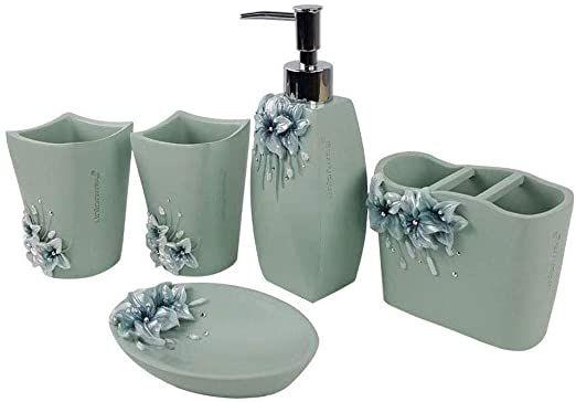 6pc Bella Lux Mirror Crystal Rhinestone Luxury Bathroom Accessory