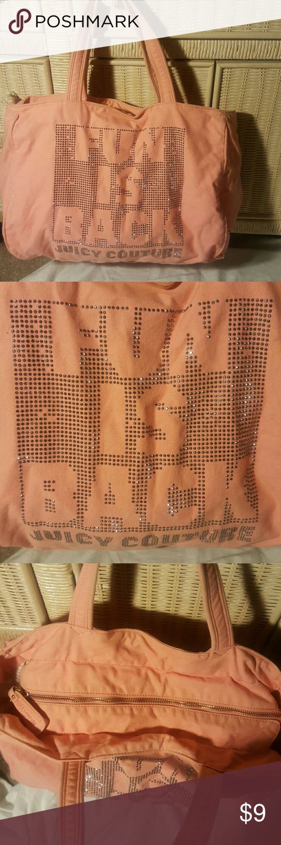 Juicy Couture denim zip up tote bag Peach color used denim bag, bling with a slight distressed look some fading and discolorations from wash and wesr but cute and the condition is still good. Juicy Couture Bags Shoulder Bags