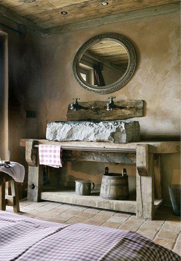 labavo de piedra rustico en la habitacion