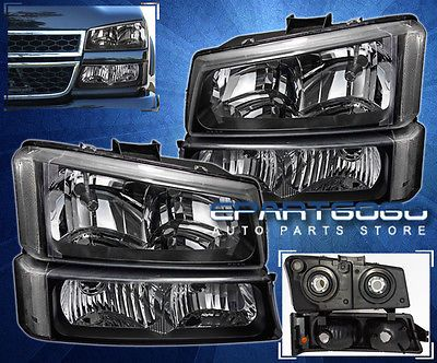 BLACK-2003-2006-CHEVY-SILVERADO-1500-2500-3500-HEAD-LIGHTS-SIGNAL-BUMPER-LAMP