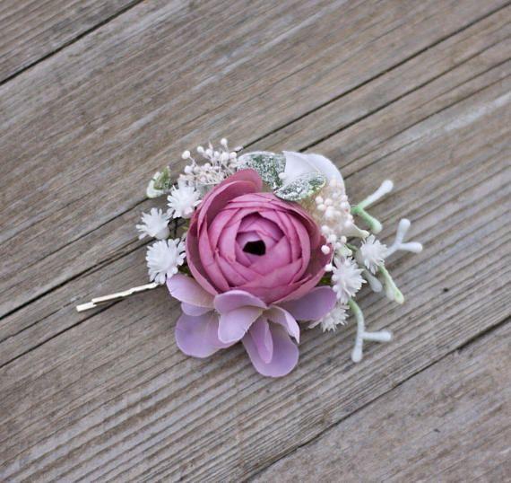 Flower hair clip pin by EvaFlowersDesigns on Etsy