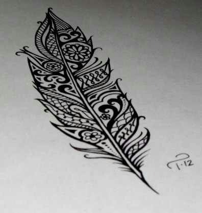Cute Feather tattoo but who a design in it, gives it a lot more personality