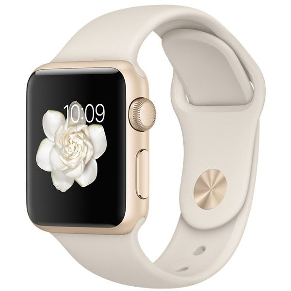 Apple Watch Sport 38mm Gold Aluminum Case with Antique White Sport... ($299) ❤ liked on Polyvore featuring jewelry, watches, accessories, electronics, tech, sport jewelry, sports jewelry, gold watches, sport watches and gold wristwatch