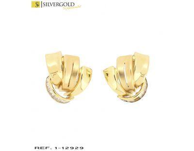 1-1-12929-1-Pendientes alados en oro combinado mate brillo con detalle de zirconitas en talla princesa, cierre
