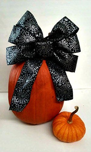 Halloween Wreath Bow with Silver Spider Webs Halloween Centerpiece  Spooktacular Halloween Party Decorations Halloween Wedding Pew Bow  Gothic Party Decor  Day of the Dead Decor