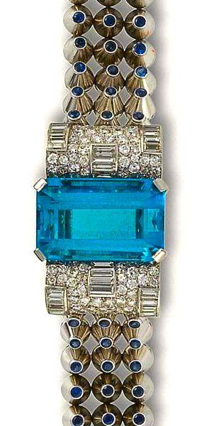 A retro aquamarine, diamond and sapphire bracelet, Mauboussin, circa 1939