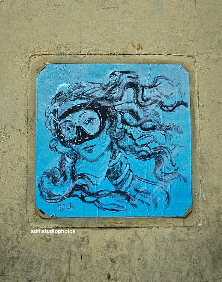 """Blub, """"L'arte sa nuotare"""". Maschera da sub alla Venere di Botticelli, Via Maggio, Firenze (Toscana, Italy) - by Silvana, aprile 2014"""