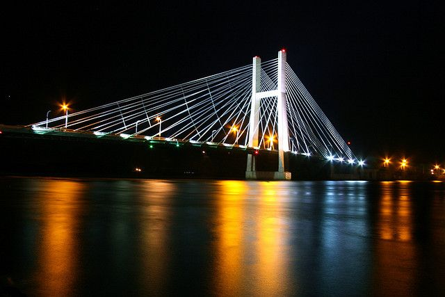 Great River Bridge At Night Burlington Iowa across Mississippi River