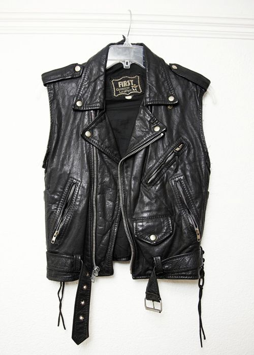 Now this...this is a true biker vest no doubt. No wardrobe is complete without a leather biker vest.