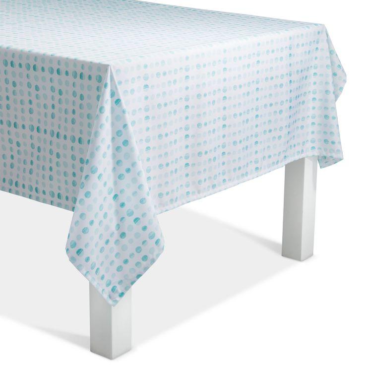 Aqua Polka Dots Tablecloth Weight, Bleached Aqua
