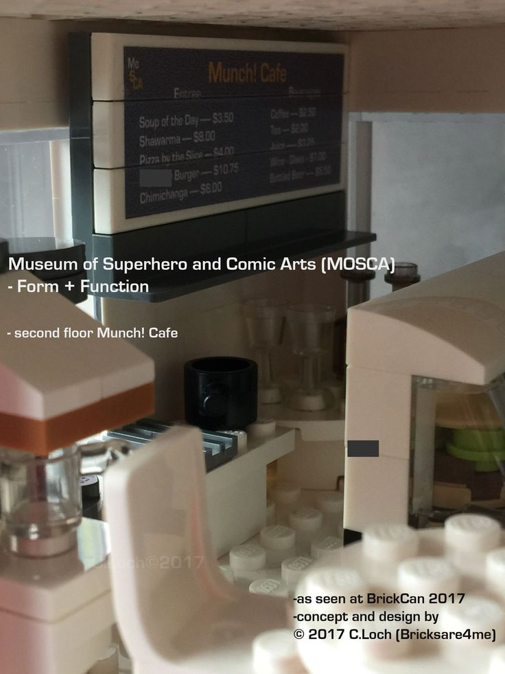 An original MOC built by AFOL © 2017 C.Loch (Bricksare4me) - Museum's Munch! Cafe on second floor serving comic favourites. Blogged on https://www.archbrick.com/single-post/2017/05/05/MOSCA and interviewed at Lisaloveslego.com. #legobricks #moc #afol #modernarchitecture #photography #legobuildings #moderndesign #legomoc #museum #bricksare4me #superhero #comics #arts #architecturelego