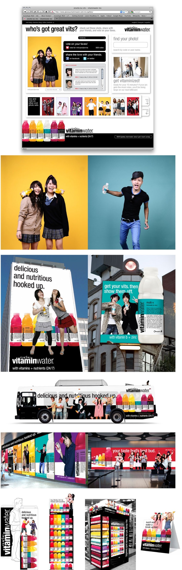 Iconologic developed the strategic and advertising guidelines for the Summer Campaign that introduces the benefits of each flavor with the happy, colorful, cheeky style of real vitaminwater drinkers. Pop-up shops in urban hipster neighborhoods became impromptu photobooths, and those images graced giant billboards in Paris, Joburg, Capetown, and Lisbon. We carried on in stores and cafes to connect what drinkers see on the streets to what they experience at the shelf.