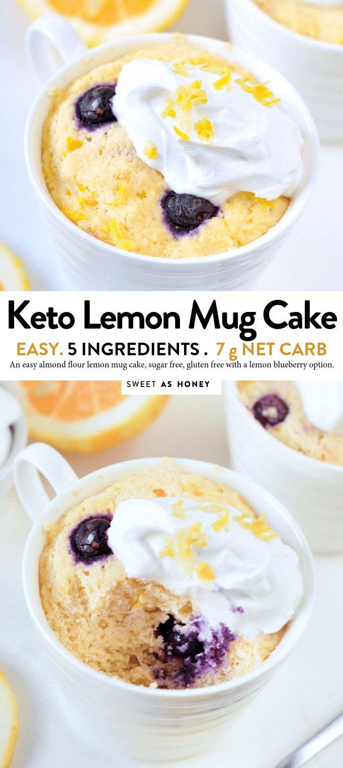 the BEST KETO LEMON MUG CAKE with blueberries. An easy ...
