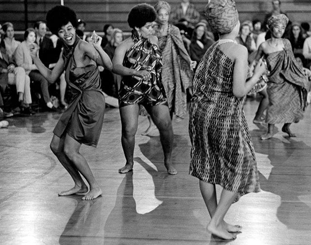 """on the """"good foot"""" (4). Barnard Organization of Soul Sisters performing South African dance, 1969."""