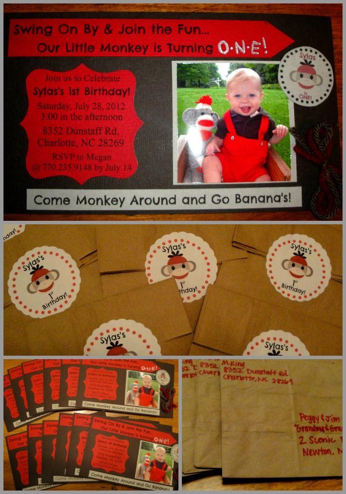 first birthday invitation for my son%0A Sylas u    s DIY  u    Sock Monkey u      st Birthday Party