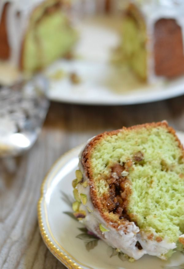 Pistachio Bundt Cake | same as the pistachio bread but i dont add almond extract and only use brown sugar and use pecans or walnuts and add 1/2 c coconut to nut mixture. Im going to try this one! mountainmamacooks.com