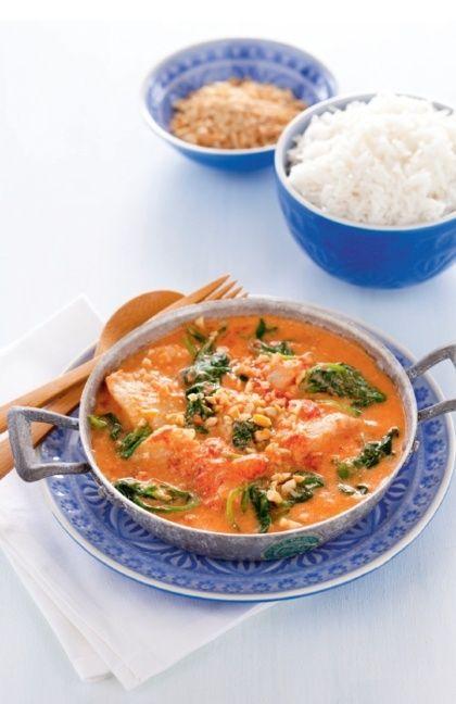 Indiase viscurry met spinazie, yoghurt en cashewnoten recept - Rijst - Eten Gerechten - Recepten Vandaag