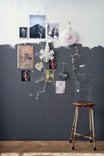 Un demi-mur gris anthracite peint à main levée - Peinture : le coup de pinceau qui change tout - CôtéMaison.fr
