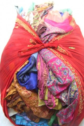 Recycled Used Silk Sari Fabric for Fiber Arts, Saree Fabric in Bulk | catfluff - Craft Supplies on ArtFire