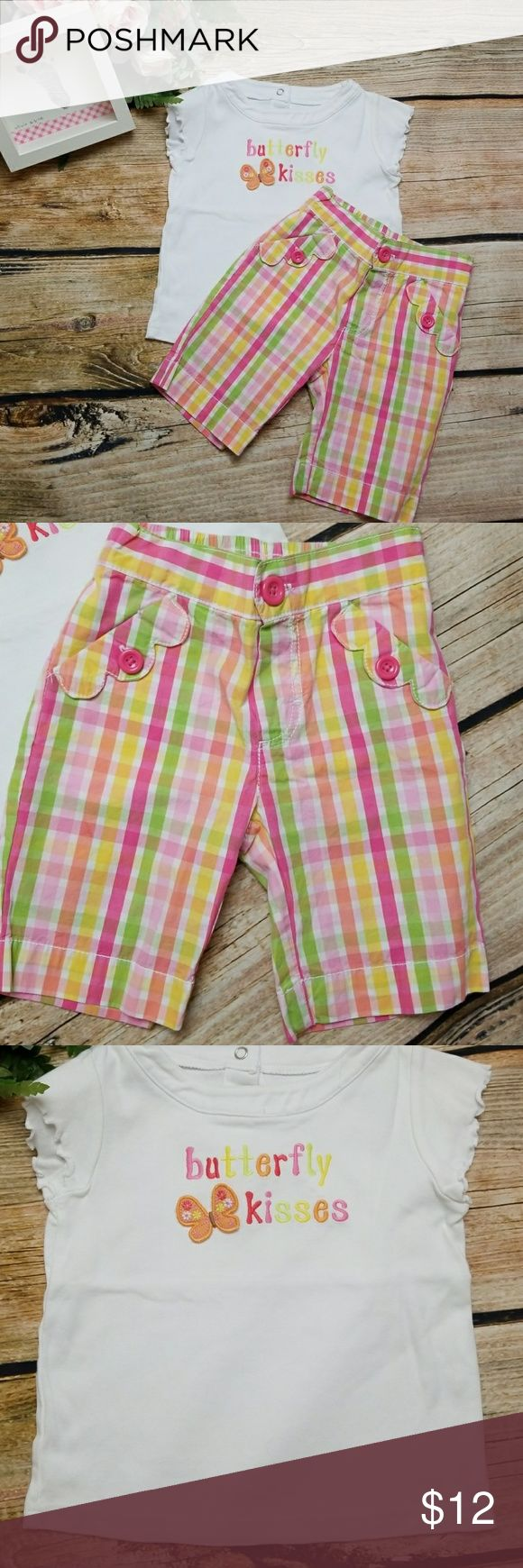 "Gymboree Butterfly Top Circo Plaid Shorts Gymboree / Circo   1.Gymboree Butterfly top with "" butterfly kisses"".  3 snap back . Ruffle short sleeves. 100% cotton. Sz 4 2. Pink, yelliw green orange coordinating Circo Shorts. Button front. 2 pockets. 100% cotton. Elastic waist back. Sz 4T  SMOKE FREE HOME Gymboree Circo Matching Sets"