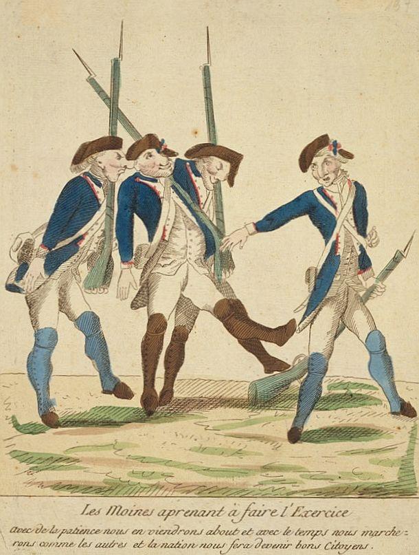 Garde nationale - Les moines apprenant à faire l'exercice 1790 - Garde nationale (France) — Wikipédia