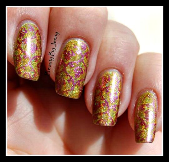 Jade Mystic Gold stamped with Color Club Hot Lava, XL stamping plate B from LeaLac
