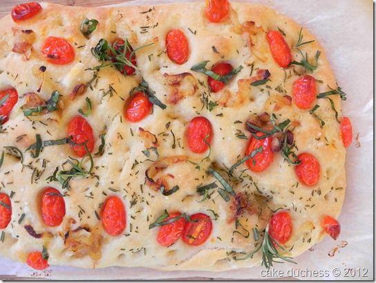 Caramelized Onion and Cherry Tomato Focaccia via @cakeduchess