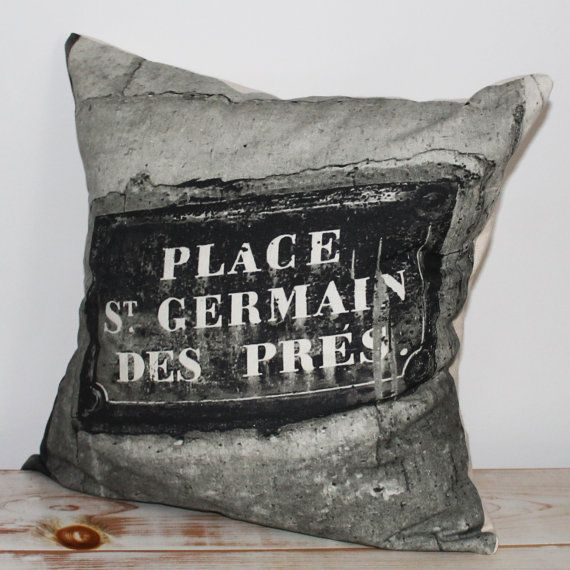 Decorative Pillow with black & white print inspired by Paris and St.-Germain-des-Pres sign outside church in Paris.