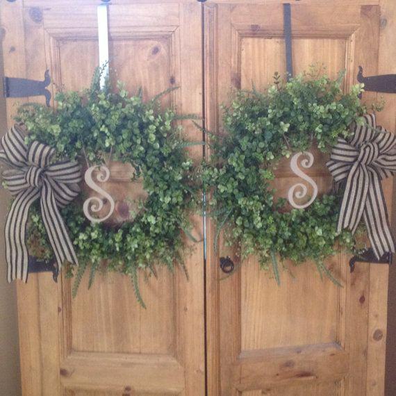 Double door wreaths Boxwood wreaths by angieswreathsandmore