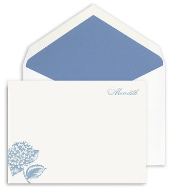 Correspondence Cards with Hydrangea Border Motif: Correspond Cards