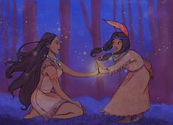 "The meeting by Celiarts.deviantart.com on @deviantART - A Disney crossover in which Pocahontas meets Tiger Lily from ""Peter Pan"". Okay...I think this just broke a time-space paradigm (since technically, they're from completely different First Nations groups - Pocahontas is Algonquian and Tiger Lily looks to be Plains). But it's still a cute idea, so I'm not complaining :)"