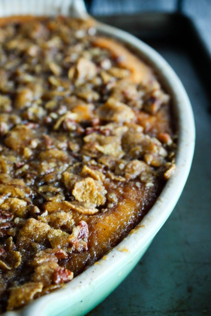 Southern style sweet potato casserole http://bakesinslippers.com/southern-style-sweet-potato-casserole-brown-sugar-pecan-topping/