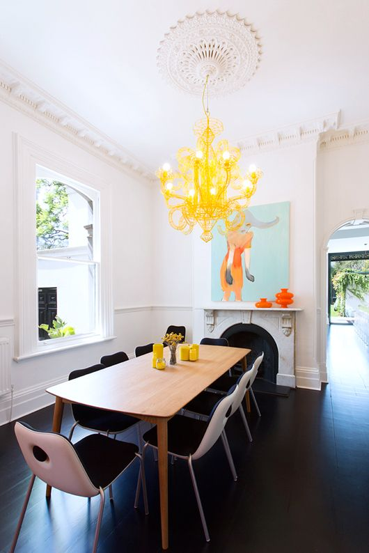 Clean and simple with one focal point (chandelier).