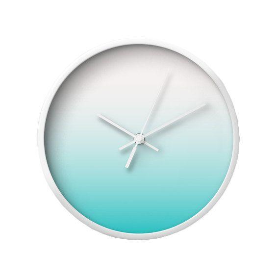 Horloge de mur dégradé bleu sarcelle cadeau de pendaison de crémaillère Teal horloge Teal murale horloge murale de menthe horloge Teal et beige Latte maison
