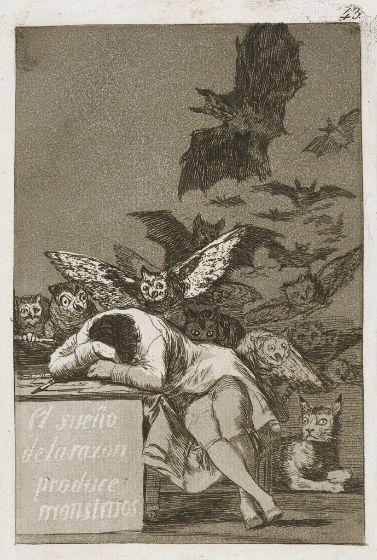 Francisco José de Goya y Lucientes, The Sleep of Reason Produces Monsters,  18th century, Harvard Art Museums/Fogg Museum.