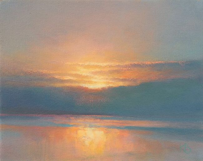 January Sunset 2 By Ken Bushe Skyscapes Painting