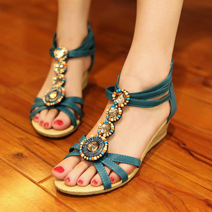 Women's Summer Fashion Peep-Toe Lace-Up Platform Sandals Beach Shoes