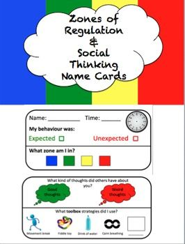 These social thinking & zones of regulation name cards help students reflect on their behaviour and feelings after a lesson or therapy session. Students identify whether their behaviour was expected or unexpected, what zone they are in, what kind of thoughts others have about them, and what toolbox strategies they used.
