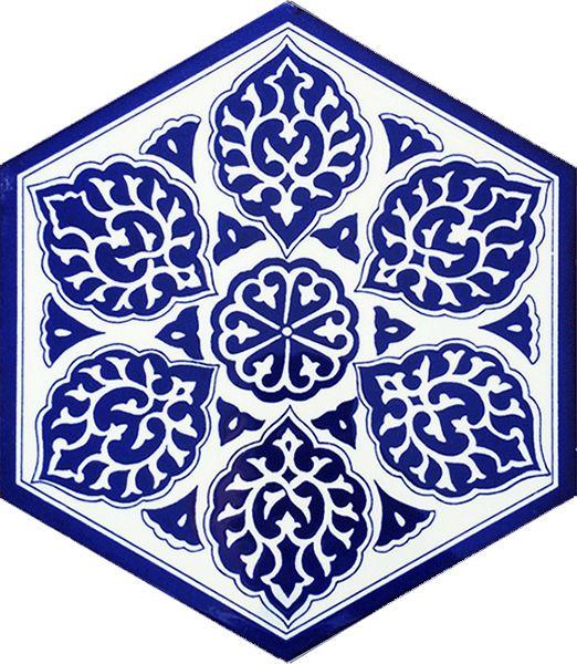 21x23 AL-2 Mavi beyaz Altıgen Çini Karo