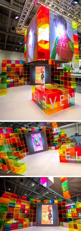 Using the whole Fluorescent range of acrylic colors, Australian hair care company Eleven created a stunning stand for their first ever UK trade show!