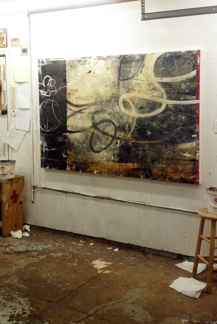"""Chaos Theory 48"""" x 72"""" shown in the studio 12-15-12 just after finishing it."""