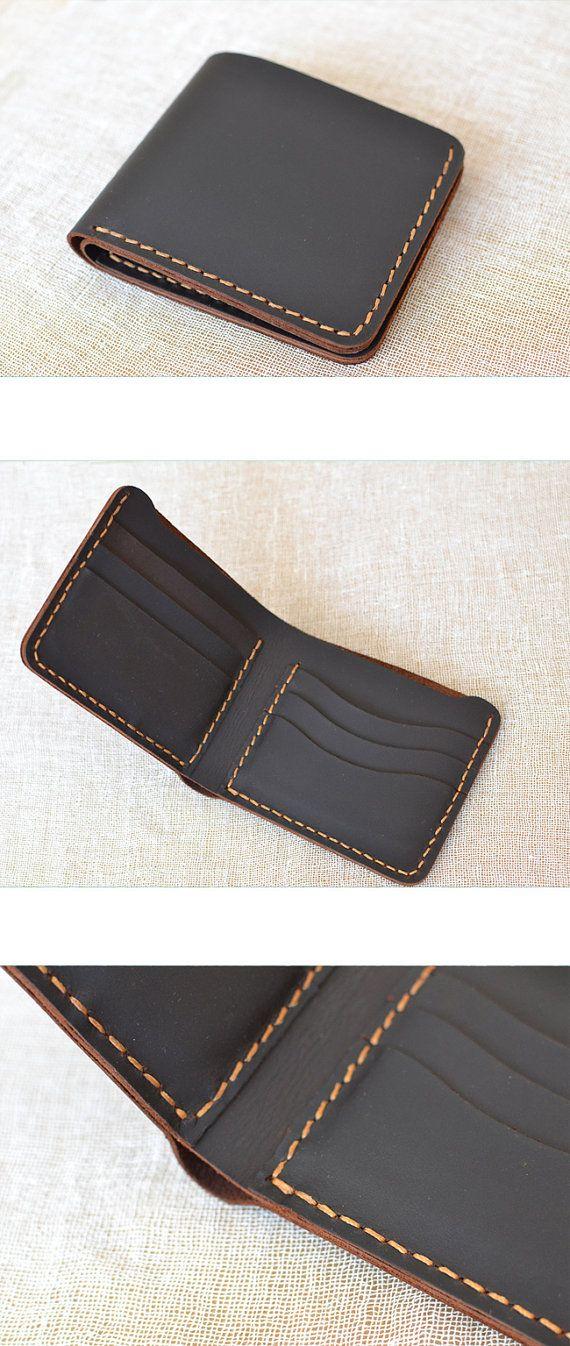 Billetera de cuero hecho a mano de los hombres-coser a mano con técnica excelente!  Este artículo es la billetera de cuero hecho a mano, el tamaño es
